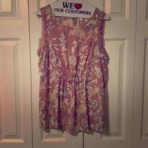 LC Pink w/Flowers Sleeveless Blouse